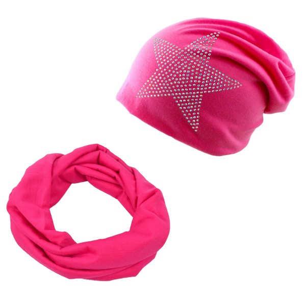 "SET Kinder Loop und Beanie ""Strass Stern"" Sommer"