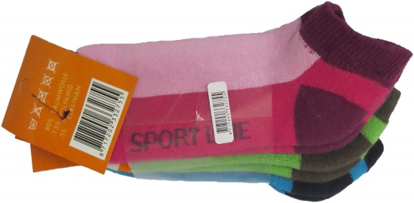 3 Pairs Sneaker Socks Kids Colored Cotton