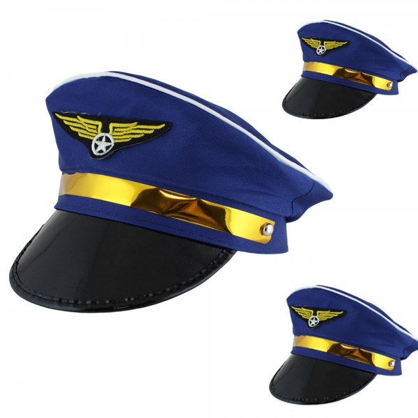 "3 Pieces Hat ""Pilot"" Steward Airplane Costume Carneval"