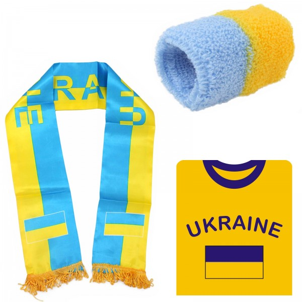 "Fan Package ""Ukraine"" Worldcup Football Scarf Shirt Sweatband SET-7"