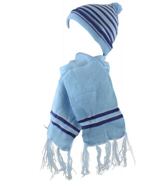 SET Kinder Schal und Mütze Streifen Fransen Bommel Winter