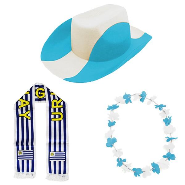 """Fan-Paket-1 """"Uruguay"""" WM EM Fußball Fan Anfeuern Party"""