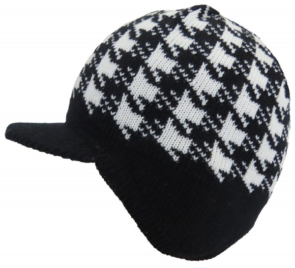 Knitted Cap Karo Winter Peaked Hat Unisex