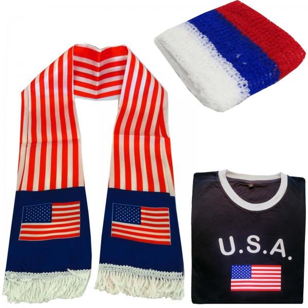 """Fan-Paket-7 """"USA"""" WM Fußball Fan Shirt Schal Schweißband Party"""