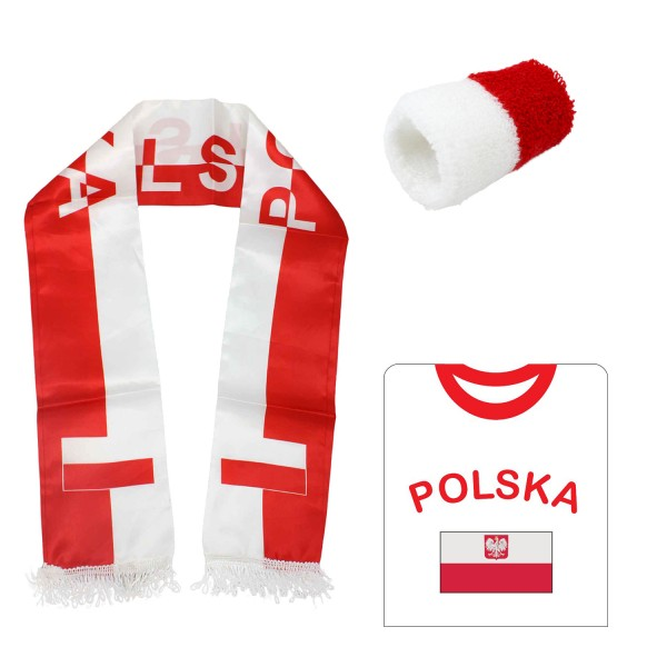 "Fan-Paket-7 ""Polen"" WM Fußball Fan Shirt Schal Schweißband Party"