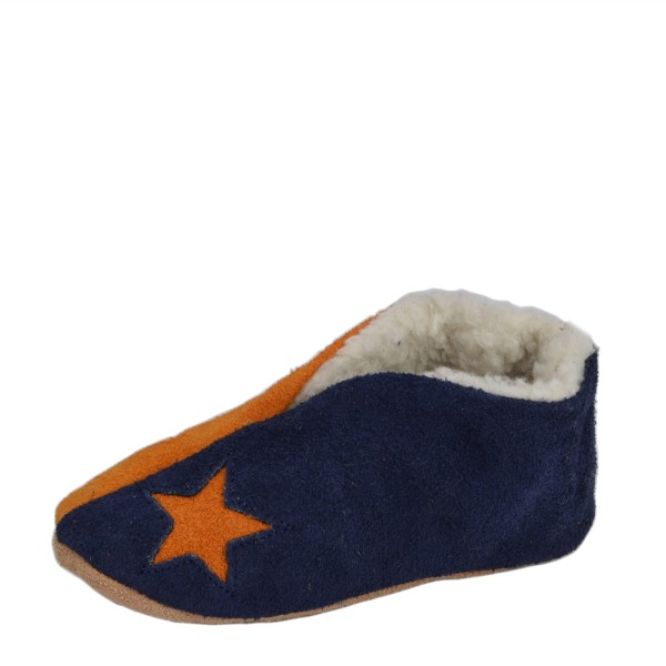 "Kids Genuine Leather Indoor Slipper ""Basic Mix"" Teddy Fur Star"