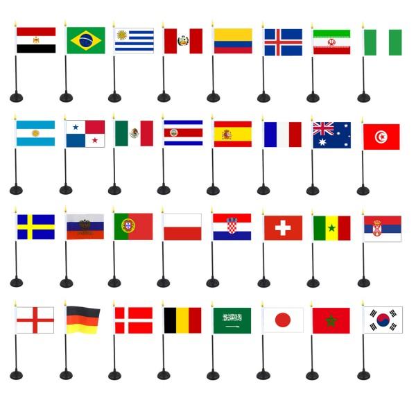 Fan-Paket-WM Fußball Fan 32 Teilnehmer Mini Handflaggen Halter