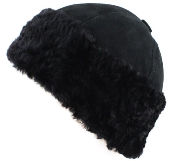 Hat Winter Round Black Lambfur Unisex