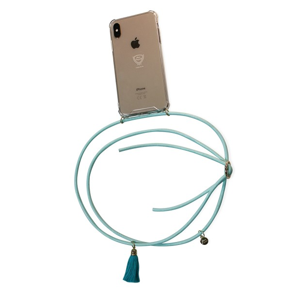 Mobile necklace leather turquoise for Samsung with tassles Necklace Smartphone Chain
