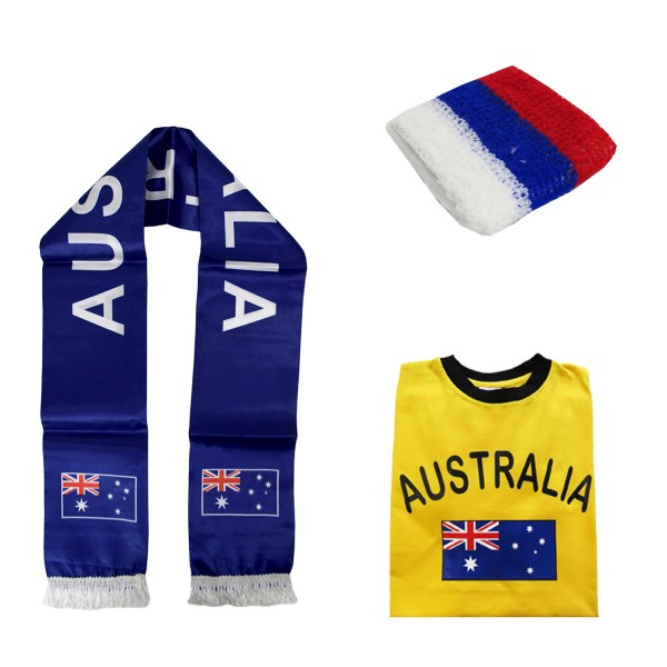 "Fan-Paket-7 ""Australien"" WM Fußball Fan Shirt Schal Schweißband Party"