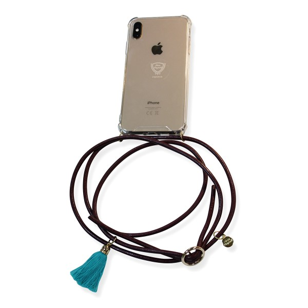Mobile necklace leather bordeaux for Iphone with tassles Necklace Smartphone Chain