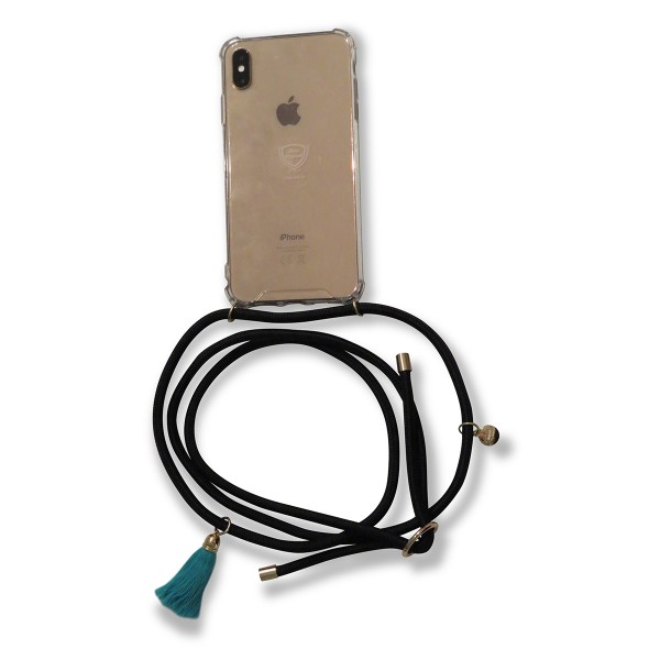 Mobile necklace black for Iphone with tassles Necklace Smartphone Chain