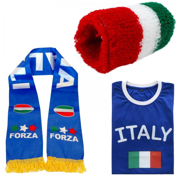 "Fan Package ""Italia"" Worldcup Football Scarf Shirt Sweatband SET-7"