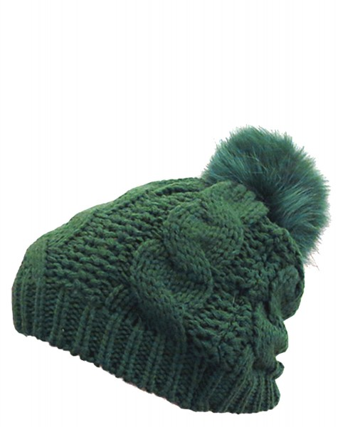 Knitted hap Real Fur Fox Winter Hat Wool