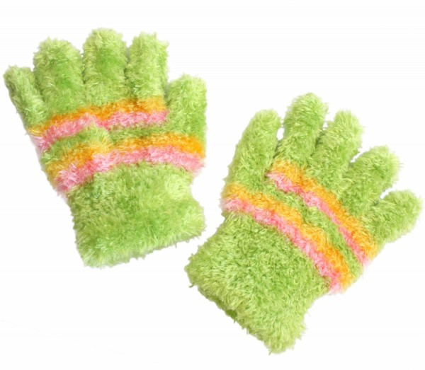 Kids Adults Gloves Stripes Fluffy Green