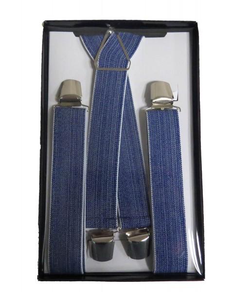 "Hosenträger ""Urban"" 4 Clips Jeans Optik Blau Grau Geschenkbox"
