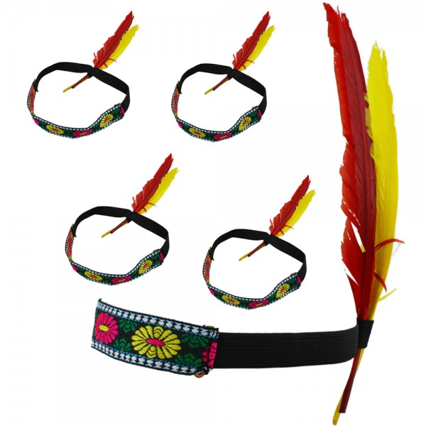 "5er SET Hippie ""Indianer Band"" Kopfband Feder Haarband Fasching"