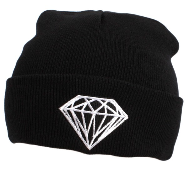 "Statement hat ""Diamond"" Beanie Knit Uni Unisex Black"
