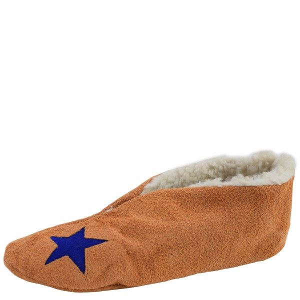"Genuine Leather Indoor Slipper ""Basic Star"" Teddy Fur Lining"