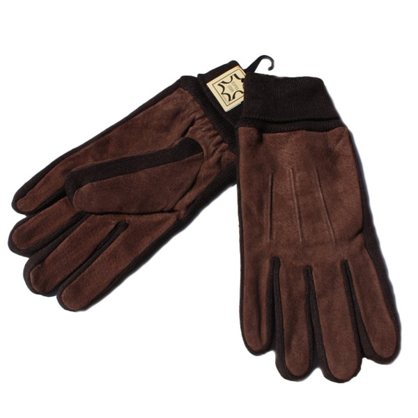 Gents Gloves Knit Leather Unicolor