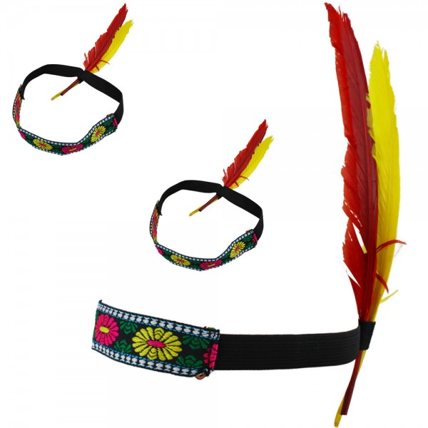 "3 Pieces Hippie ""Indian Headband"" Native American Feather Bandeau"