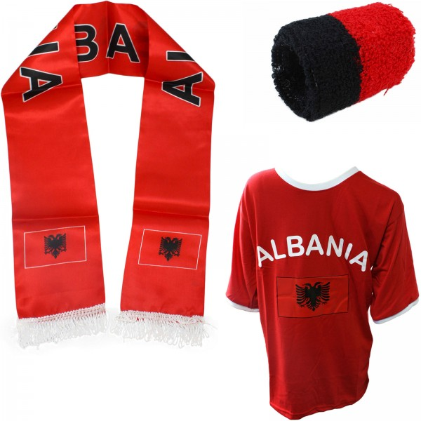 "Fan Package ""Albania"" Worldcup Football Scarf Shirt Sweatband SET-7"