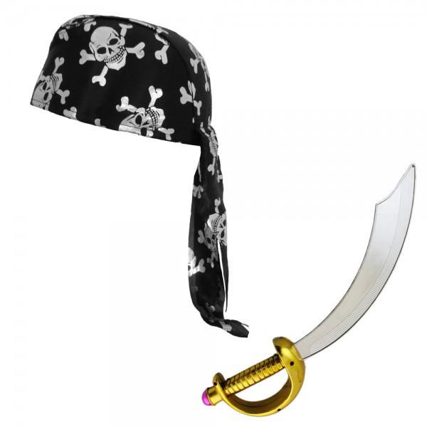 "SET ""Pirate"" Sword and Bandana Headband Skull Costume Carneval"