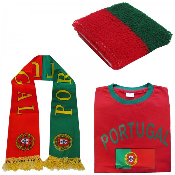 "Fan-Paket-7 ""Portugal"" WM Fußball Fan Shirt Schal Schweißband Party"
