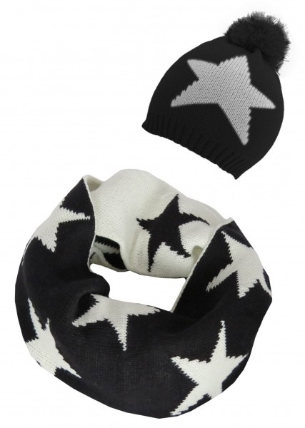 SET Loop and hat Star Design Black White Winter