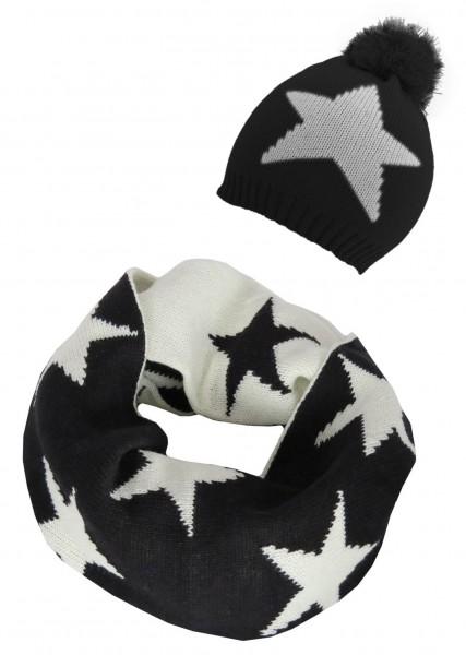 SET Loop und Mütze Stern Schwarz Weiß Winter