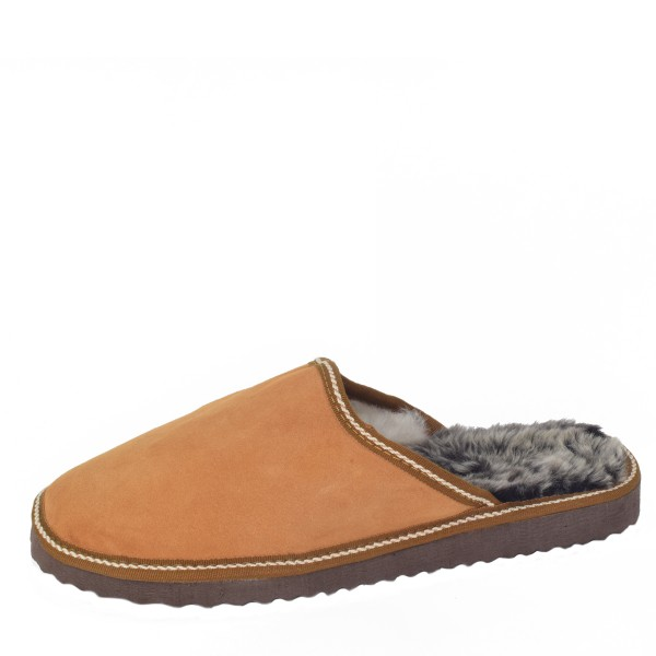 "Gents Slipper ""Nordpol"" Real Leather Lambfur Lining Sole"