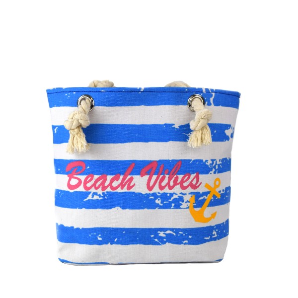 "Shopper ""Beach Vibes"" stripes anchor vintage used look trendy"