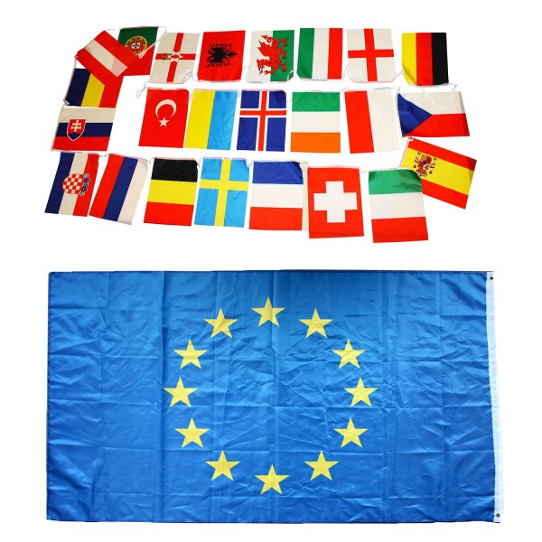 Fan-Paket-Europa WM EM Fußball Girlande Flagge Europe Party