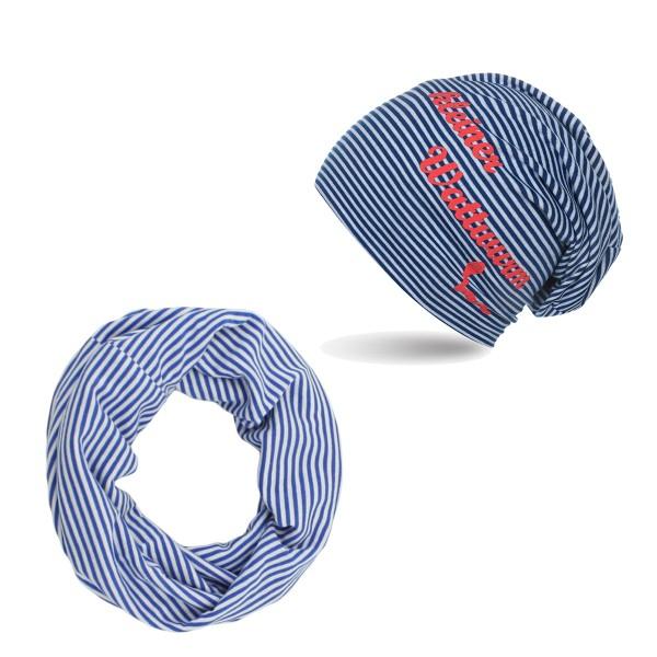 "SET Kids Beanie and Loop ""Little rock worm"" Maritime Stripes"