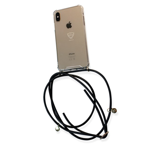 Mobile necklace leather black for Iphone with charms Necklace Smartphone Chain Cloak
