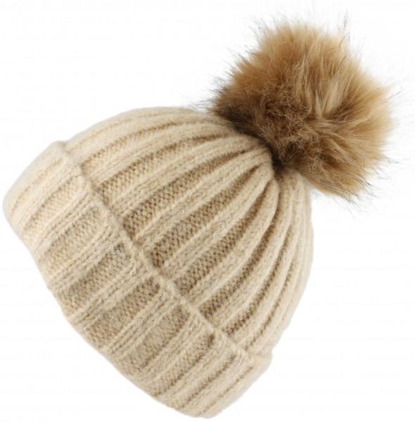 Bommelmütze Winter Strick Wolle Kunstfell Knopfverschluss Meliert