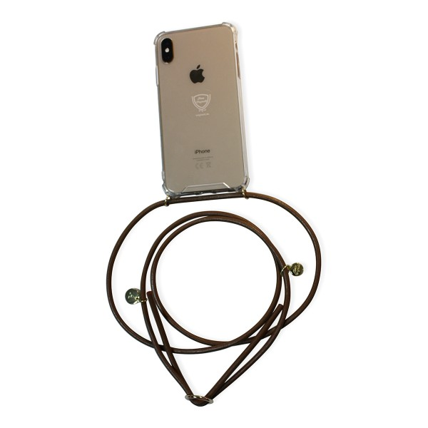Mobile necklace leather brown for Iphone with charms Necklace Smartphone Chain Cloak