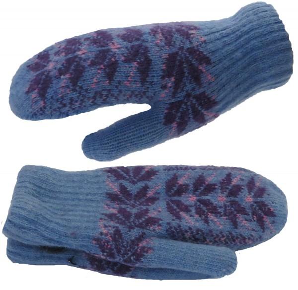 Mitten Gloves Snowflakes Angora Wool