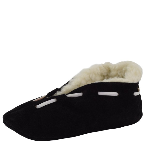 "Kids Genuine Leather Indoor Slipper ""Cult"" Faux Fur Black"