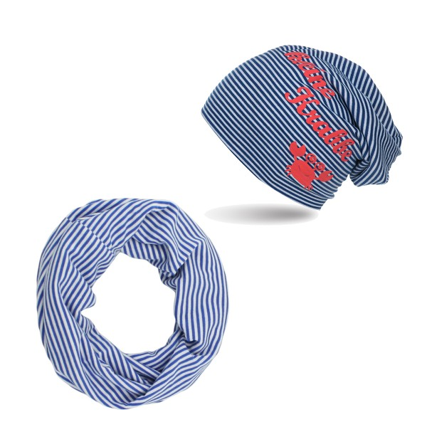 "SET Baby Kids Beanie and Loop ""Little crab"" Maritime Stripes"