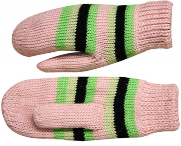 Knitted Mitten Gloves Stripes Teenager Adults Winter