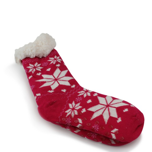"1 Paar Kuschel Socken ""Schneeflocke"" Teddyfell Anti Rutsch"