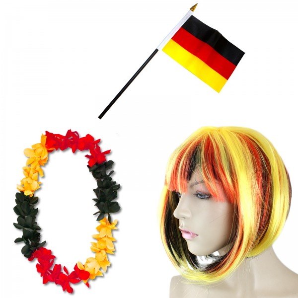 Fan-Paket-4 WM Fußball Kurzhaar Perücke Hawaiikette Flagge Party