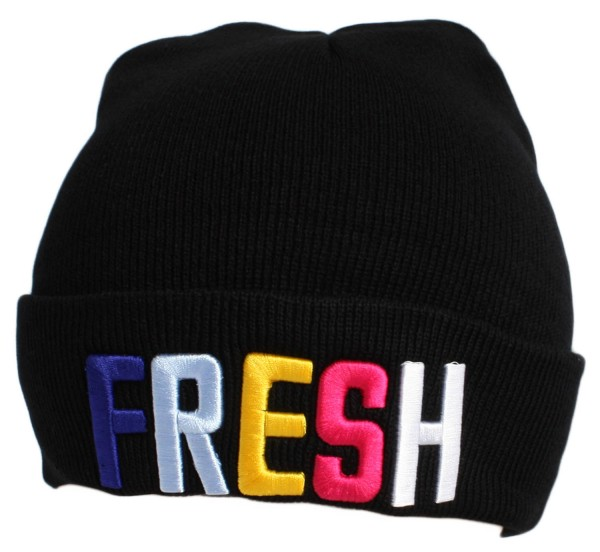 "Statement Mütze ""Fresh"" Beanie Strick Uni Unisex"