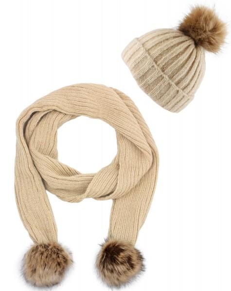 SET Schal und Mütze Bommel Wolle Kunstfell Meliert Winter