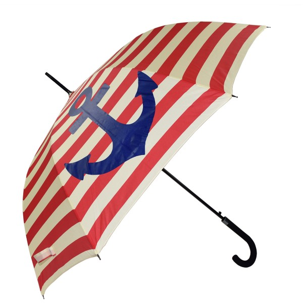 "Walking-stick umbrella ""Maritime"" Anchor Stripes Rain Protection"