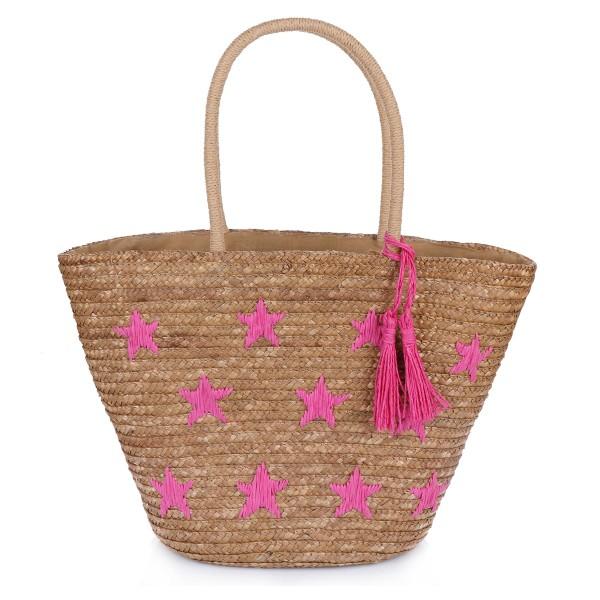 """Basket Bag """"Mini Stars"""" Embroidery Tassel Shopper Summer"""