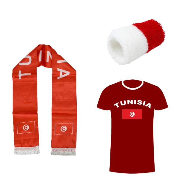 "Fan-Paket-7 ""Tunesien"" WM Fußball Fan Shirt Schal Schweißband Party"