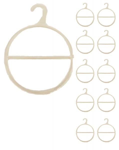 10er SET Schalhalter Kunststoff Haken Weiß