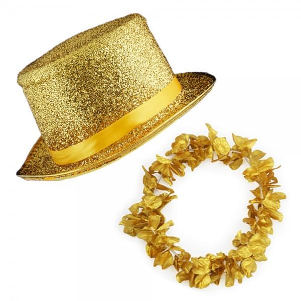 """SET """"Hawaiian Chain and Glitter Hat"""" Carneval Costume"""